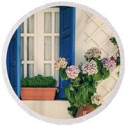 Window With Flowers Round Beach Towel