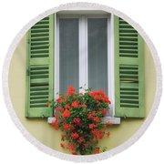Window With Shutter Flowers Round Beach Towel