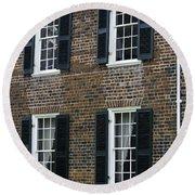 Windows At The Clover Hill Tavern Appomattox Virginia Round Beach Towel