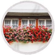 Windows With Red Flowers Round Beach Towel