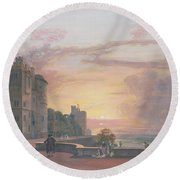 Windsor Castle North Terrace Looking West At Sunse Round Beach Towel