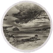 Windy Cove Bw Round Beach Towel