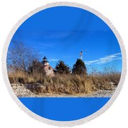 Windy Day At East Point  Round Beach Towel