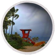 Windy Day In Haleiwa Round Beach Towel