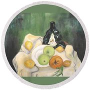 Wine And Fruit Round Beach Towel