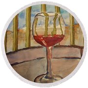 Wine By The Water Round Beach Towel