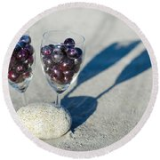 Wine Glass With Grapes Round Beach Towel