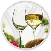 Wine Glasses Round Beach Towel by Elena Elisseeva