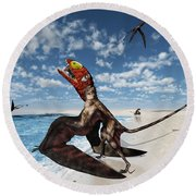 Winged Dimorphodon Pluck Fish Round Beach Towel by Walter Myers