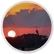 Wings At Rest Under The Sunset Round Beach Towel