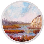 Winter At The Back Bay Round Beach Towel
