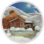 Winter At The Cabin Round Beach Towel