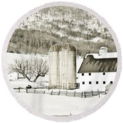 Winter Barn 3 Round Beach Towel