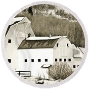 Winter Barn 4 Round Beach Towel