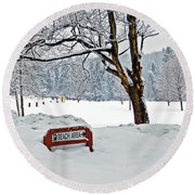 Winter Beach Sign Round Beach Towel by Aimee L Maher Photography and Art Visit ALMGallerydotcom