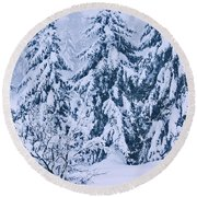 Winter Coat Round Beach Towel by Aimelle
