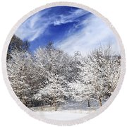 Winter Forest Covered With Snow Round Beach Towel