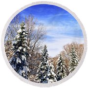 Winter Forest Under Snow Round Beach Towel by Elena Elisseeva