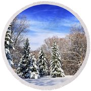 Winter Forest With Snow Round Beach Towel