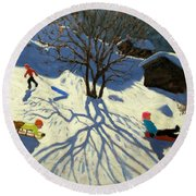 Winter Hillside Morzine France Round Beach Towel