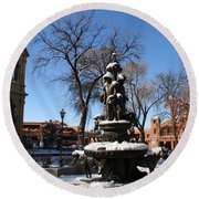 Winter In Cathedral Park Santa Fe Round Beach Towel