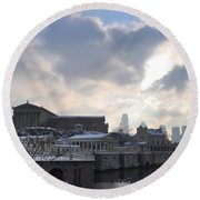 Winter In Philly Round Beach Towel