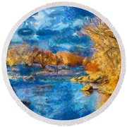 Winter In Salida -- Renoir Round Beach Towel