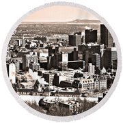 Winter In The City ... Round Beach Towel