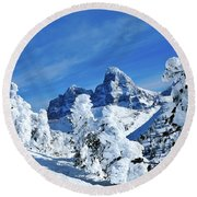 Winter In The Tetons Round Beach Towel