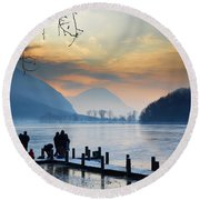 Winter Lake Round Beach Towel