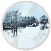 Winter Landscape 1 Round Beach Towel