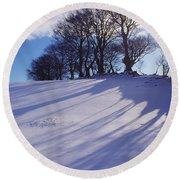 Winter Landscape Round Beach Towel