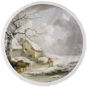 Winter Landscape With Men Snowballing An Old Woman Round Beach Towel
