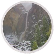 Winter Lower Yosemite Falls Round Beach Towel