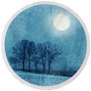 Winter Moon Over Farm Field Round Beach Towel