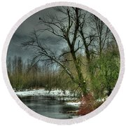 Winter On The Nicomen Slough Round Beach Towel