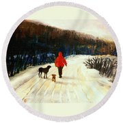 Winter Road Quebec Laurentian Landscape Round Beach Towel