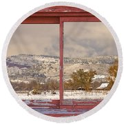 Winter Rocky Mountain Foothills Red Barn Picture Window Frame Ph Round Beach Towel