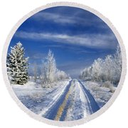Winter Rural Road Round Beach Towel
