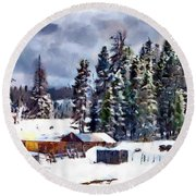 Winter Seclusion Round Beach Towel