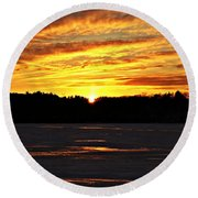 Winter Sunset I Round Beach Towel