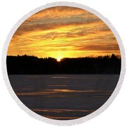 Winter Sunset II Round Beach Towel