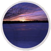 Winter Sunset IIi Round Beach Towel