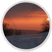 Winter Sunset Round Beach Towel