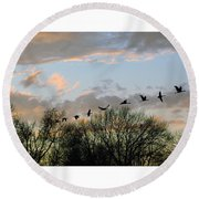 Winter Sunset  Silhouette Round Beach Towel by Brian Wallace