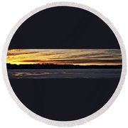 Winter Sunset V Round Beach Towel