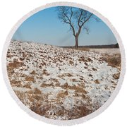 Winter Tree Nachusa Grasslands Round Beach Towel