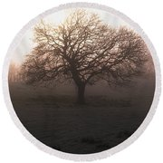 Winter Tree On A Frosty Morning, County Round Beach Towel