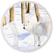 Winter Wolf Round Beach Towel