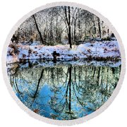 Winter Wonder Round Beach Towel